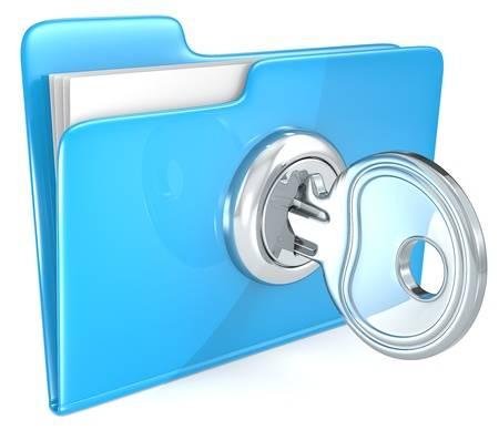 Coffre-fort numérique avec une clé sur un dossier numérique bleu