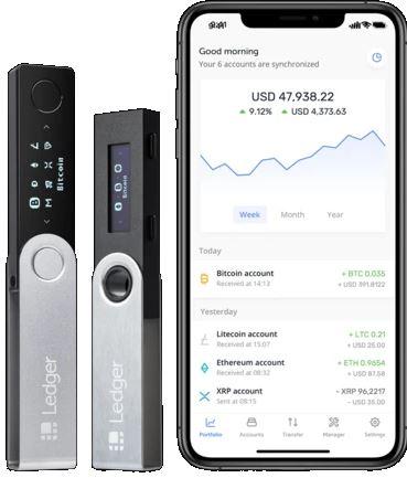 Ledger porte-feuille cryptomonnaies avec téléphone