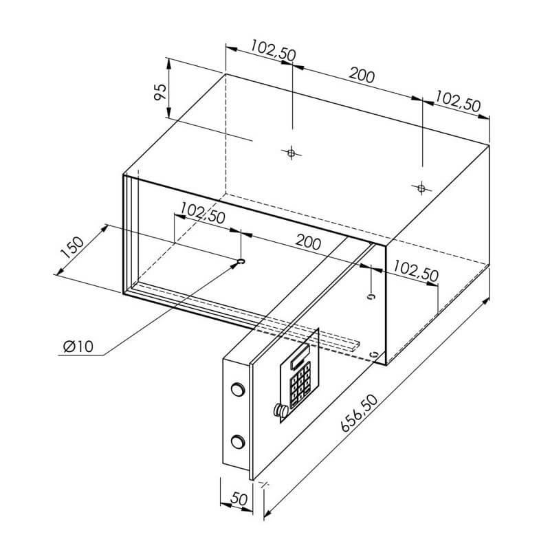 coffre-fort dimensions plan 2D